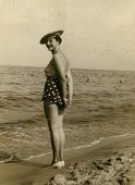 Vintage photo of woman in swimming suit (circa 1950)