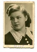 Vintage photo of sixteen years old girl (1941)