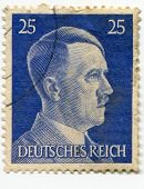 GERMANY - CIRCA 1941: A stamp printed in Nazi Germany shows portrait of Adolf Hitler, series, circa 1941
