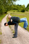 Multi-ethnic couple exercising outdoor