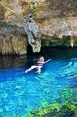 stock photo of cenote  - Swimming in Gran Cenote - JPG
