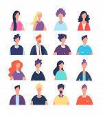 People Avatars. Cartoon Man And Woman Office Worker, Professional Teamwork Portraits. Male And Femal poster