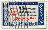 USA - CIRCA 1960 : A  4 c value stamp printed in the USA with text: Observe good faith and justice t
