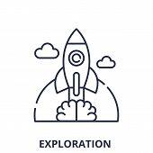 Exploration Line Icon Concept. Exploration Vector Linear Illustration, Symbol, Sign poster