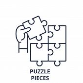 Puzzle Pieces Line Icon Concept. Puzzle Pieces Vector Linear Illustration, Symbol, Sign poster