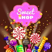 Candy Sweet Shop Background Set Of Different Colors Of Candy, Candy, Sweets, Candy, Jelly Beans. The poster