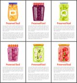 Preserved Fruit And Vegetables Vector Illustration. Orange And Cherry, Plum And Tomato, Olive And Sa poster