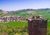 Castell'Arquato, beautiful medieval burgh in northern Italy lying into the hills.