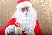 Santa Poses in a Photo Booth. Santa Claus is funny. Fun Santa Photos. poster
