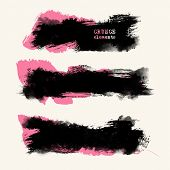 Vector Set Of Two Color Brush Strokes. Grunge Isolated Elements. Colour Brushes For Your Design. Fre poster