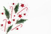 Christmas Composition. Red Decorations, Fir Tree Branches On White Background. Christmas, Winter, Ne poster