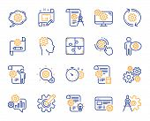 Engineering Line Icons. Set Of Idea Bulb, Dividers Tools And Blueprint Linear Icons. Cogwheel, Calcu poster