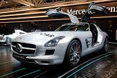 BOLOGNA, ITALY - DECEMBER 8: Mercedes-Benz shows e beautiful SLS AMG on December 8th 2010 at the Mot