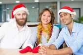 Joyful Team Ready For Office Christmas Party. Young Caucasian, Asian And Indian Workers In Santa Cla poster