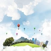 Green Flying Island With Urban View Of Towers And Skyscrapers. Flying Aerostates And Blue Cloudy Sky poster