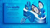 Concept Of Cloud Datacenter System Security. Isometric Projection Of Banner Vector Illustration Secu poster