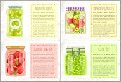 Preserved Green Olives Labeled Jar, Canned Tomatoes And Vegetables With Spicery, Pickled Green Peas. poster