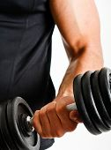 stock photo of weight-lifting  - Muscular man lifting weights - JPG