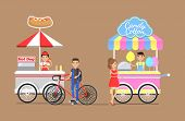 Hot Dogs And Cotton Candy From Street Carts Set. Customer On Bicycle Buys Hot-dog, Girl Buying Tasty poster