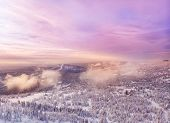 Sunset In Winter In The Mountains Of Forest, Top View Aerial Drone Taiga. poster