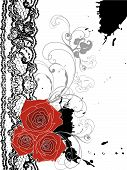 Valentine Red Roses And Lace Swirl (Vector)