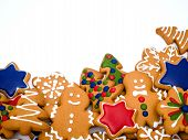 Happy New Year And Merry Christmas Gingerbread On White Background. Christmas Baking. Making Gingerb poster