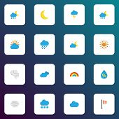 Climate Icons Flat Style Set With Lightning, Sun, Crescent And Other Sunny Elements. Isolated Vector poster
