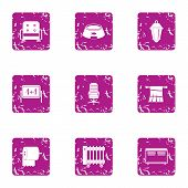 Private Icons Set. Grunge Set Of 9 Private Icons For Web Isolated On White Background poster