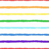 Rainbow. Horizontal Striped Seamless Pattern. Hand-drawn Dry Brush Colorful Stripes. Rainbow Color T poster