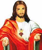 Jesus Christ Sacred Love Peace Faith Holy Heart Spirit Illustration poster