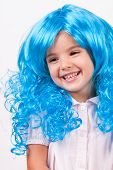 Pretty little girl with long blue hair