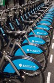 WARDOUR STREET SOHO LONDON - 18th SEPTEMBER 2012 -  Bikes parked in Barclays Cycle Hire Scheme bays