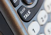 Phone Closeup Photo With Talk Button In Selective Focus. This Is A Macro Image Of The Communication