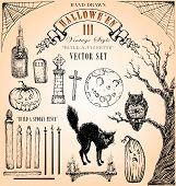 Estilo vintage Halloween Vector Set III