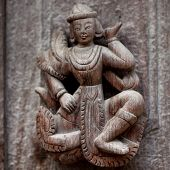 Ancient wooden carved in Mandalay, Myanmar