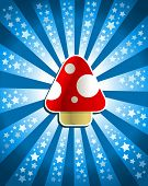 picture of trippy  - Vector illustration of a red magic mushroom on bursting background with stars - JPG