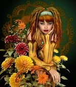 foto of dreadlocks  - a girl with dreadlocks sits in the middle of dahlias - JPG
