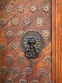 Old-fashioned Door With Doorhandle
