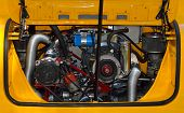 Restored rear vintage car engine