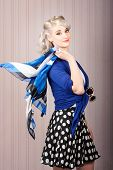 American Style Pin-up Girl. Vintage Background