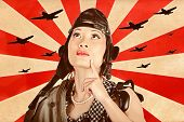Retro Asian Pinup Girl. War Planes Of Revolution