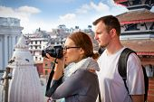 Beautiful young couple travelling in Kathmandu, Nepal.