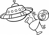 Alien With Ufo For Coloring Book