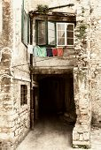 Clotheslines in balcony old town in Croatia.