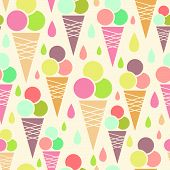 Ice cream cones seamless pattern background