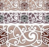 Maori styled seamless pattern. Editable vector illustration.