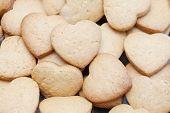 Freshly Baked Cookies In Heart Shapes