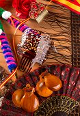 image of castanets  - Espana typical from Spain with castanets rose fan bullfighter and flamenco comb - JPG