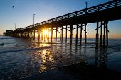 Newport beach pier sundown