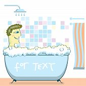 Man Taking A Shower In A Bathroom.vector Illustration